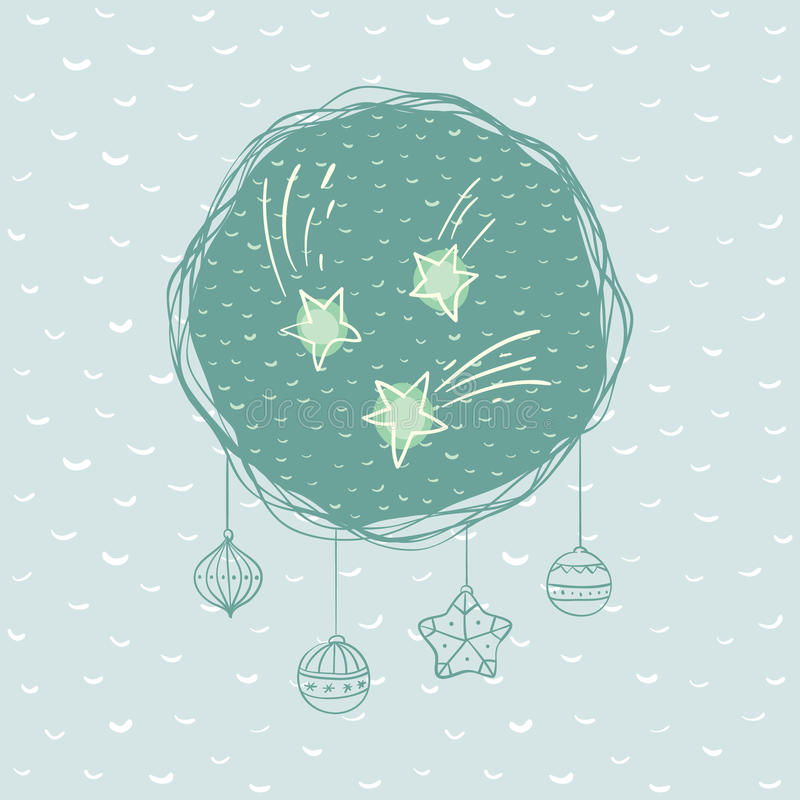Christmas and New Year round frame with star symbol. Greeting card. royalty free illustration