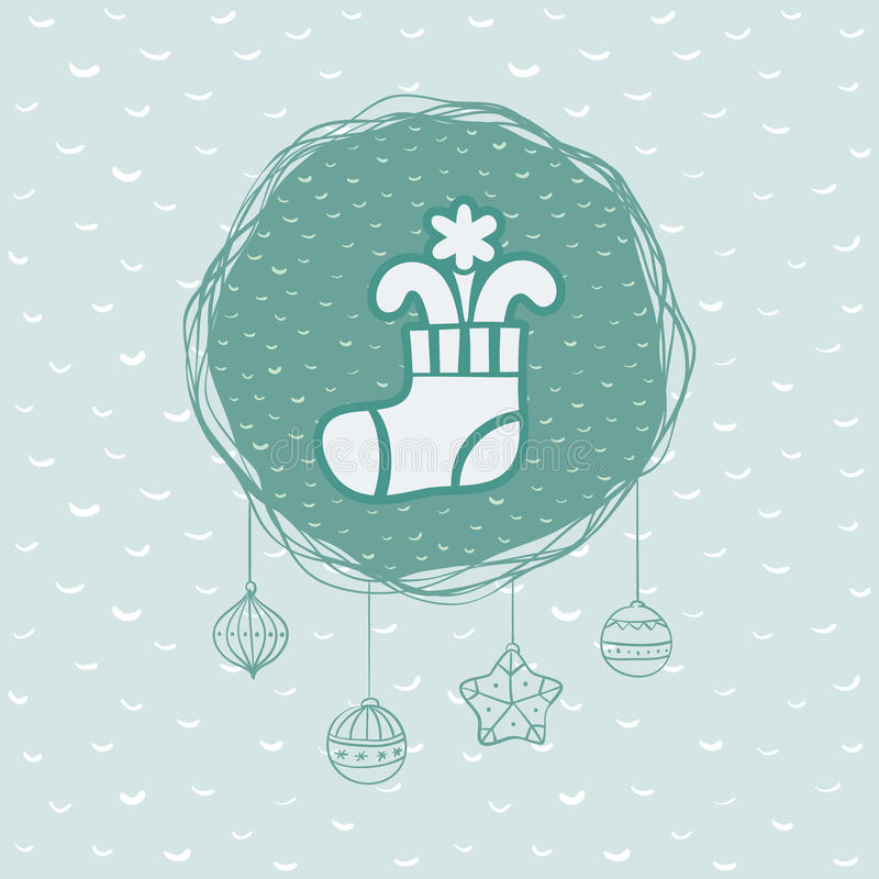 Christmas and New Year round frame with stocking symbol. Greeting card. royalty free illustration