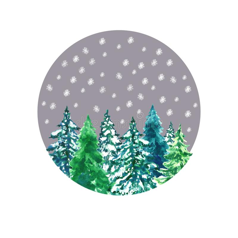 Christmas and New Year`s card with winter forest landscape. Watercolor hand drawn green spruce trees. And falling snow in round frame. For Holiday greeting vector illustration