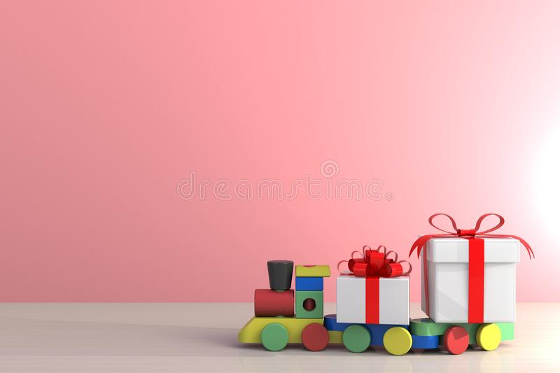 Gift box with red ribbon and train on wood table, White gift box on pink wall background with space, 3d rendering royalty free illustration