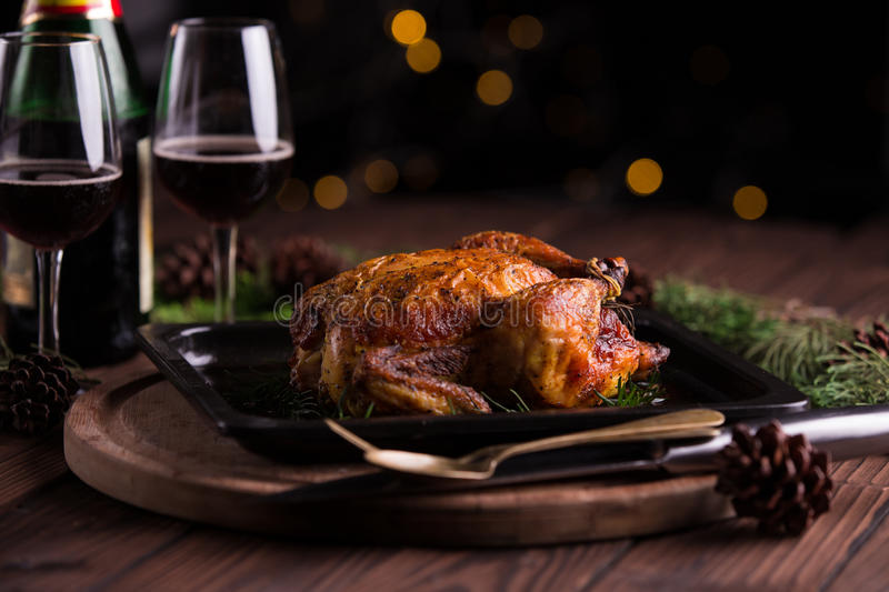 Christmas and new year's eve dinner: roasted whole chicken / turkey stock image