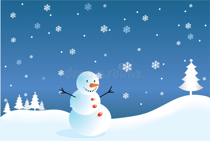 Christmas and new year's eve postcard. Vector illustration - christmas and new years eve postcard with snowman and landscape royalty free illustration