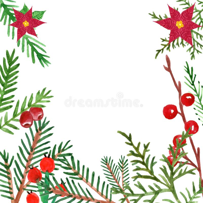 Christmas and New Year`s greenery banner with hand drawn watercolor winter evegreen plants and red berries. royalty free illustration