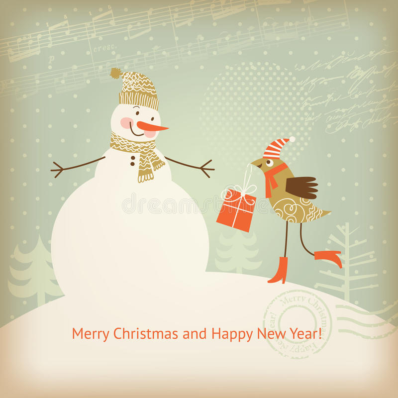 Christmas and New Year's greeting card royalty free illustration