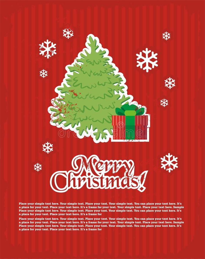Christmas and New Year's minimal simple postcard vector illustration
