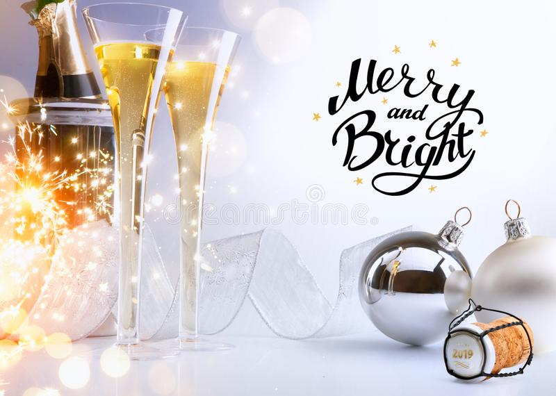 Art Christmas or New Year`s party; Merry and Bright 2019 stock images