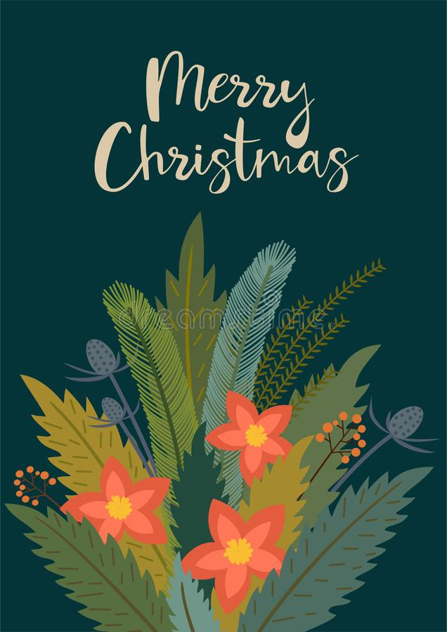 Christmas and New Year`s poster with a winter bouquet. Vector retro style illustration. stock illustration
