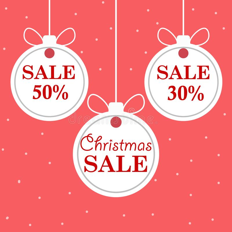 Christmas and New Year`s sale. Beautiful discount and promotion white Christmas balls. Vector illustra vector illustration
