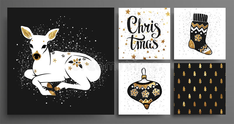 Christmas and New Year`s Template Set vector illustration