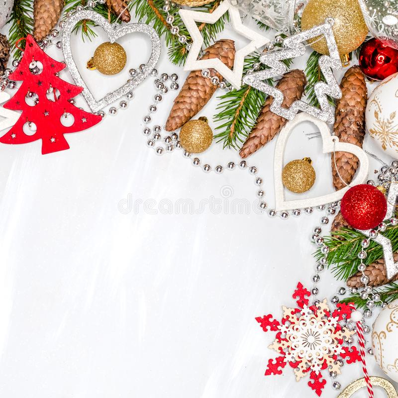 Christmas celebration still life with free space for text, on white background stock photos