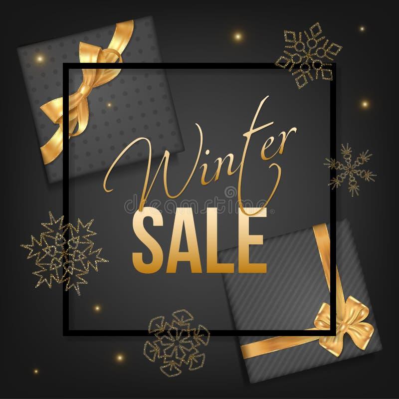 Winter sale typographic with golden snowflakes stock illustration