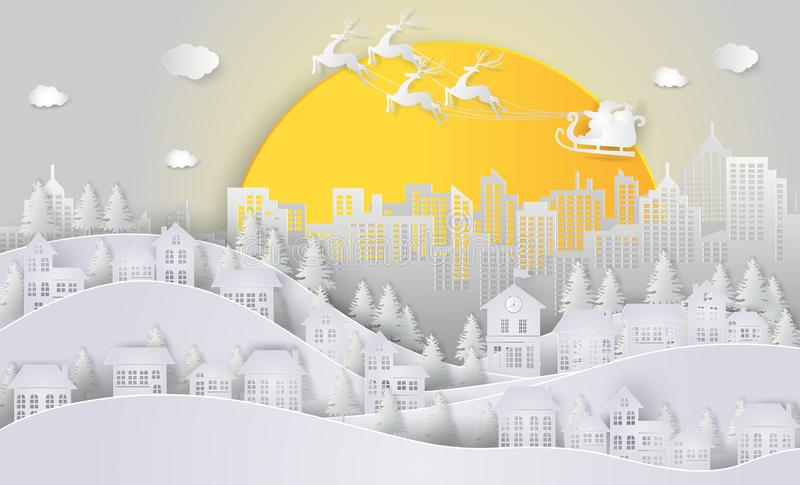 Christmas and New Year. Santa Claus and reindeer on the sky and. Big moon coming to City. minimal concept. Merry Christmas card. Winter Snow, paper art and royalty free illustration