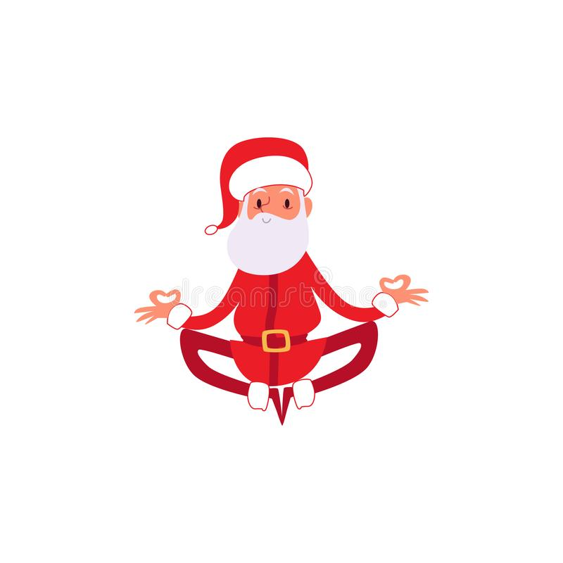 Christmas or New Year Santa Claus in the yoga pose flat vector illustration isolated. royalty free illustration