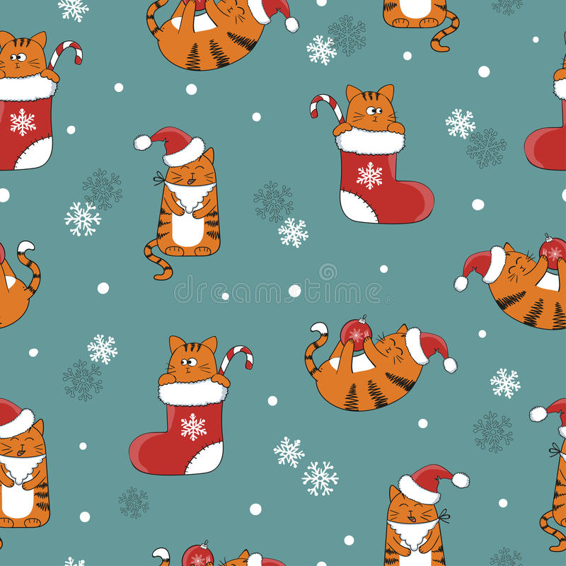 Christmas and New Year seamless pattern with cute cartoon cats. vector illustration