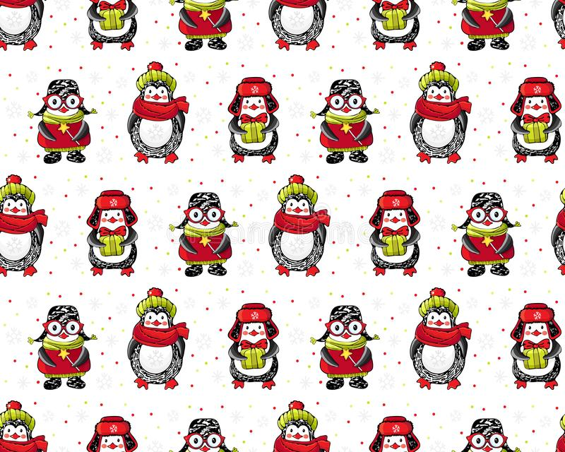 Christmas and new year seamless pattern. Cute cartoon penguins in winter clothes on a white background among snowflakes. Winter. Background with funny animals royalty free stock photography
