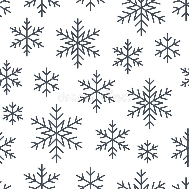Christmas, new year seamless pattern, snowflakes line illustration. Vector icons of winter holidays, cold season snow. Flakes, snowfall. Celebration party black vector illustration