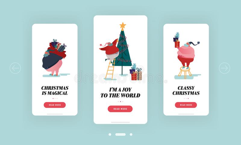 Christmas, New Year Season Mobile App Page Onboard Screen Set. Fat Santa Claus Decorating Christmas Tree. Sack with Gifts and Present Concept for Website or vector illustration