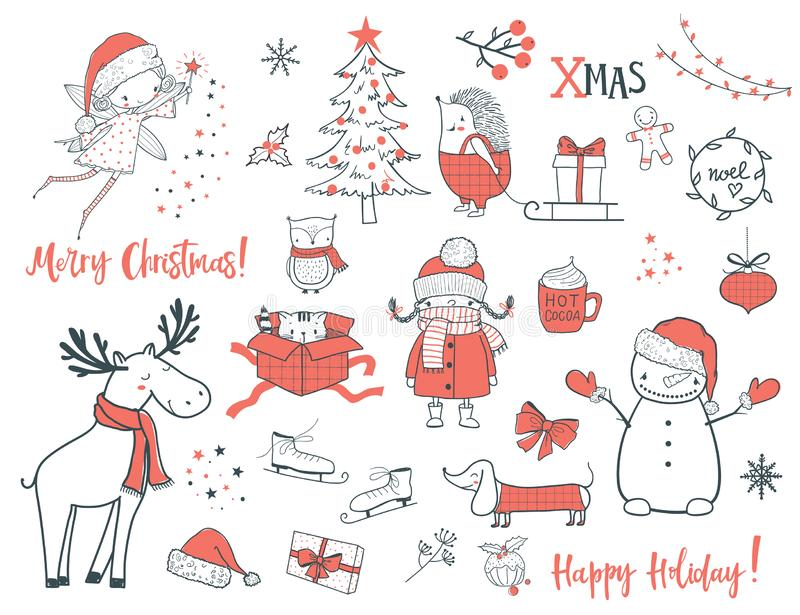 Christmas and New year set. Cartoon vector illustration. Cute christmas animals and elements set. Cartoon vector illustration. Use for print design, surface royalty free illustration