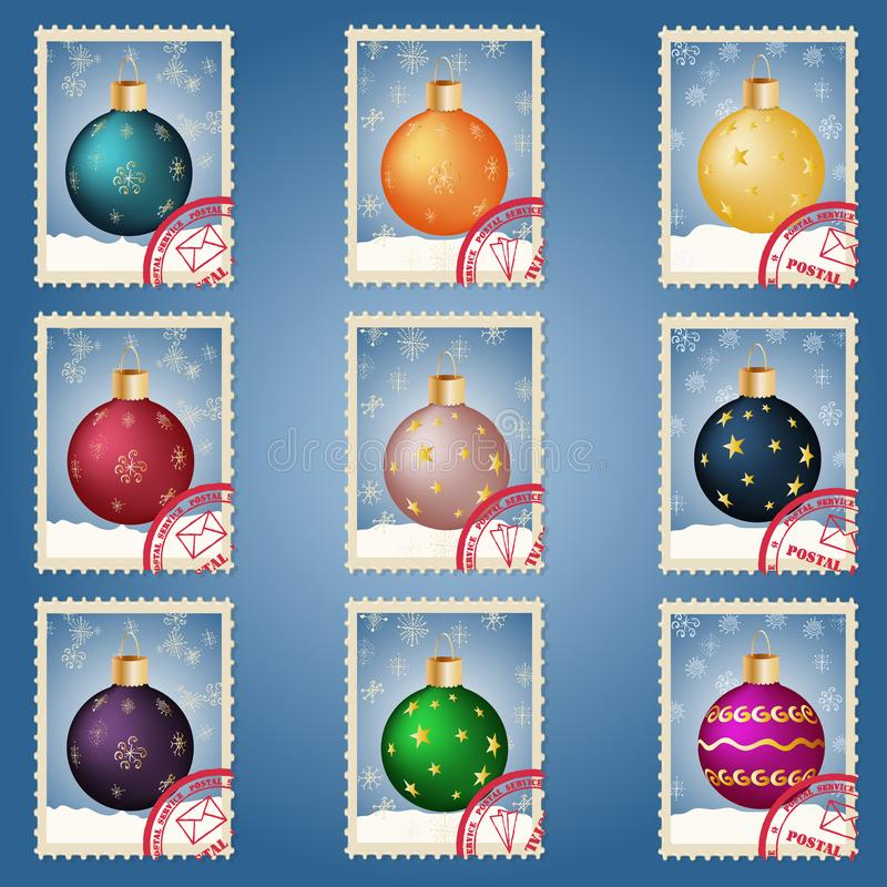 Christmas and new year set of elements for the design of Christmas decorations in the form of postage stamps stock illustration