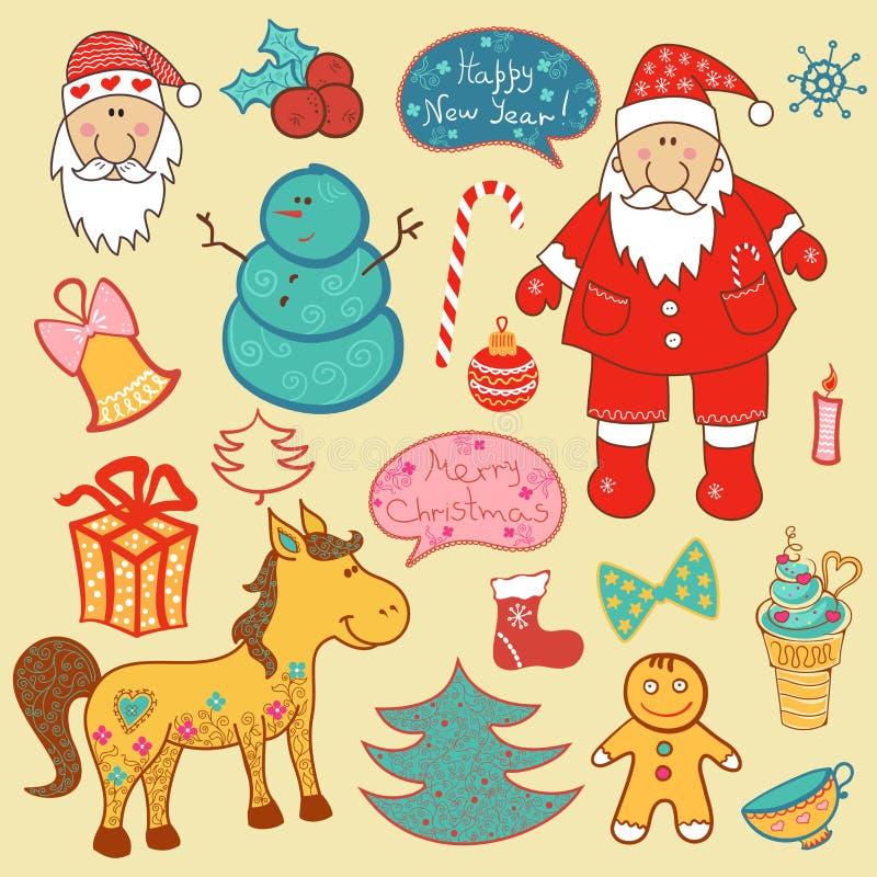 Christmas, new year set vector illustration