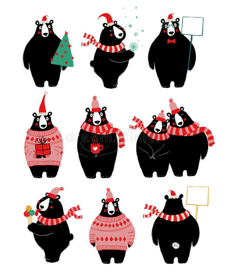 Christmas Set With Cute Bear. Christmas and New Year set of icons with cute black bear. Perfect for greeting cards or posters stock illustration