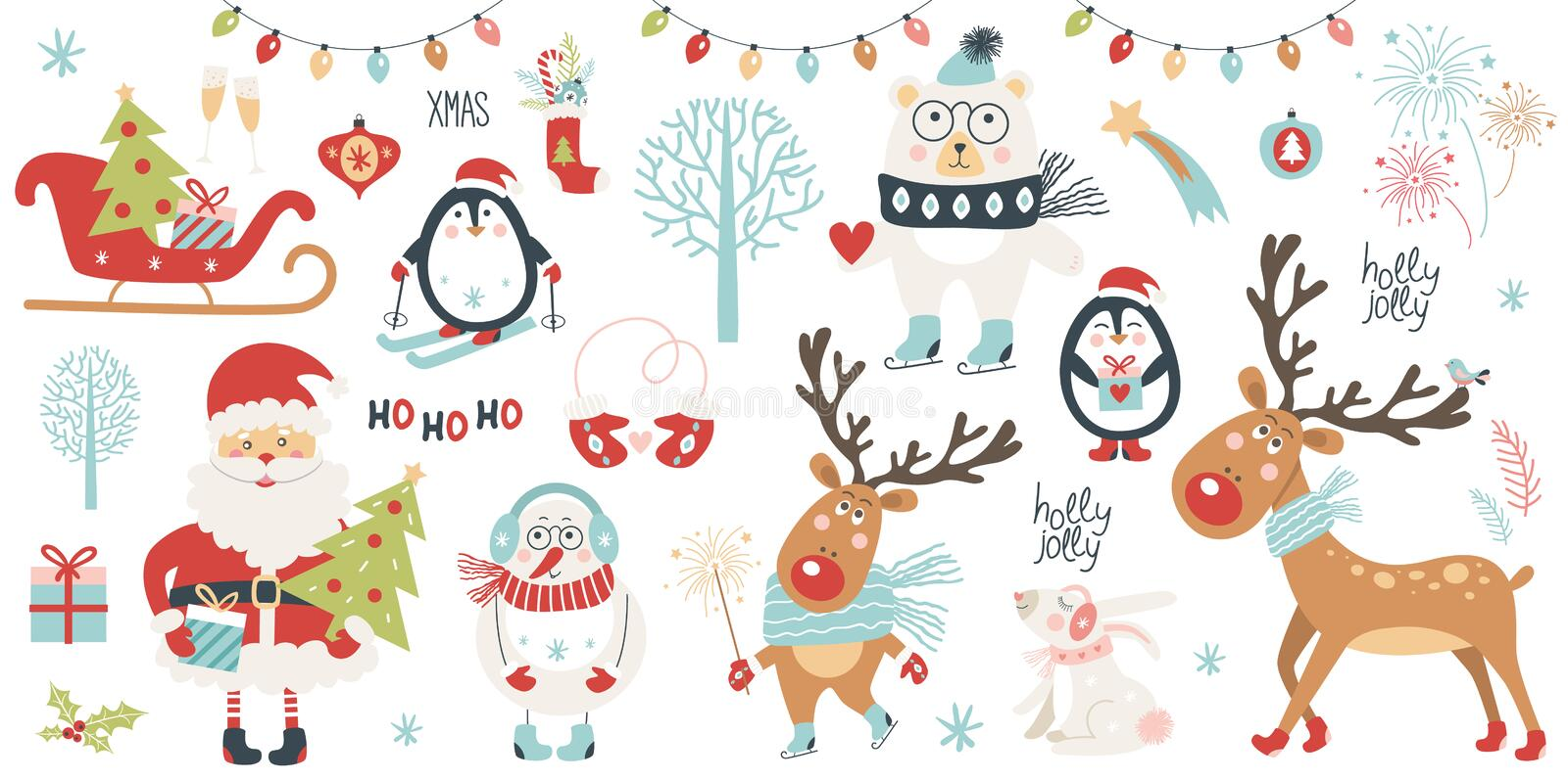 Christmas and New Year set. Vector illustration stock illustration