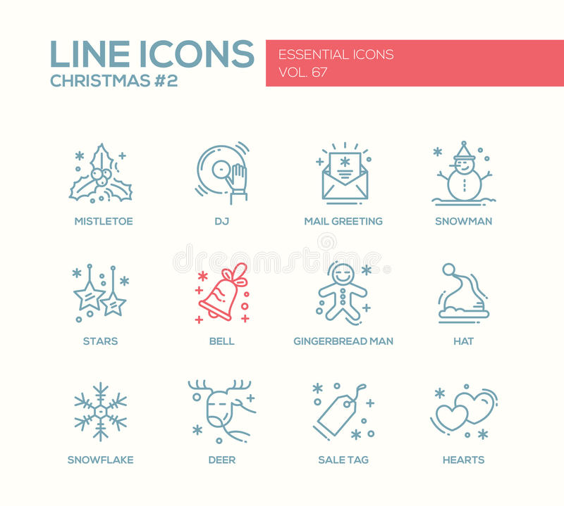 Christmas and new year simple line design icons set stock vector download christmas and new year simple line design icons set stock vector illustration of m4hsunfo Image collections