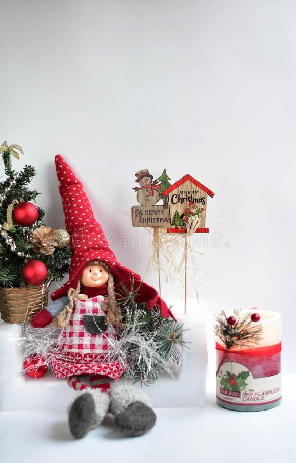 Christmas, New year, the Snow Maiden, the Snow Maiden on a sofa, the Snow Maiden and Christmas royalty free stock image