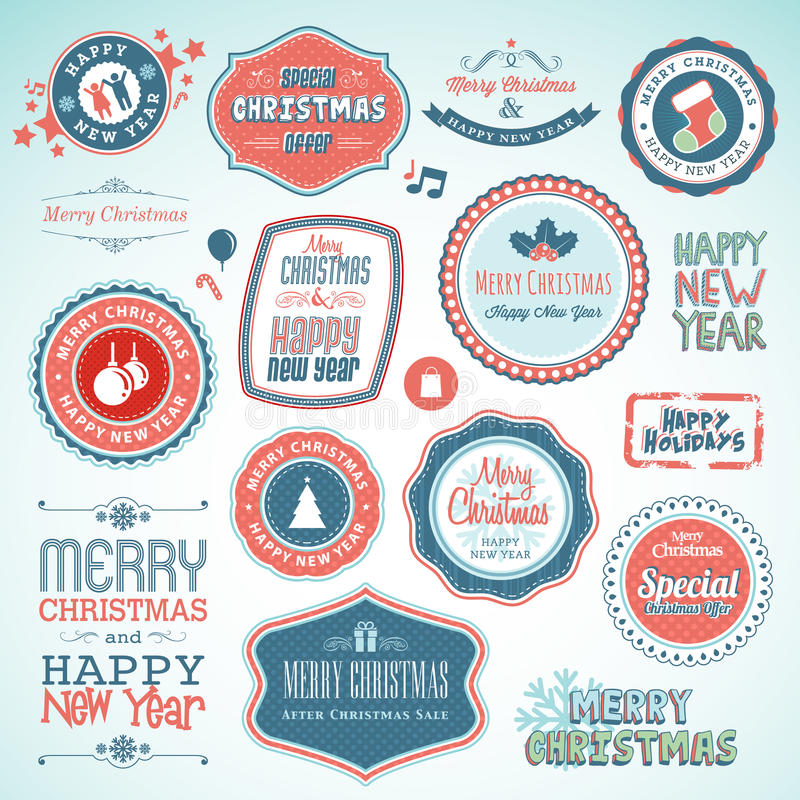 Christmas and New Year stickers and elements royalty free illustration