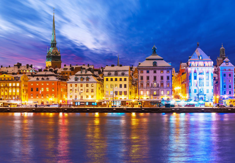 Christmas and New Year in Stockholm, Sweden. Beautiful winter scenery panorama of the Old Town (Gamla Stan) pier architecture in Christmas and New Year holidays royalty free stock image