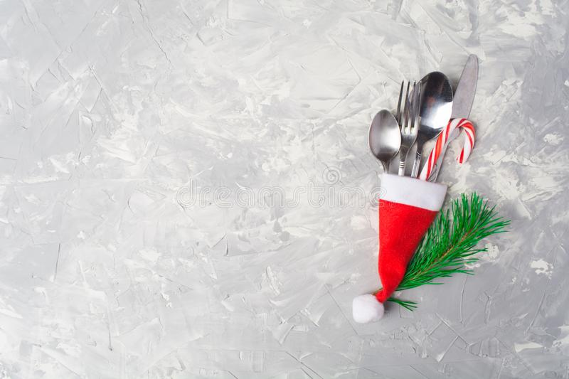 Christmas or New Year table decoration setting. With copy space, overhead view royalty free stock images