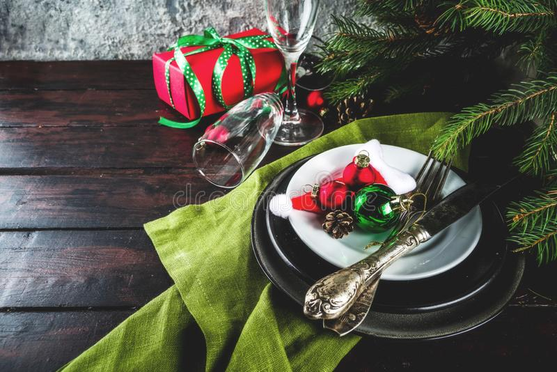Christmas or New Year table setting royalty free stock photo