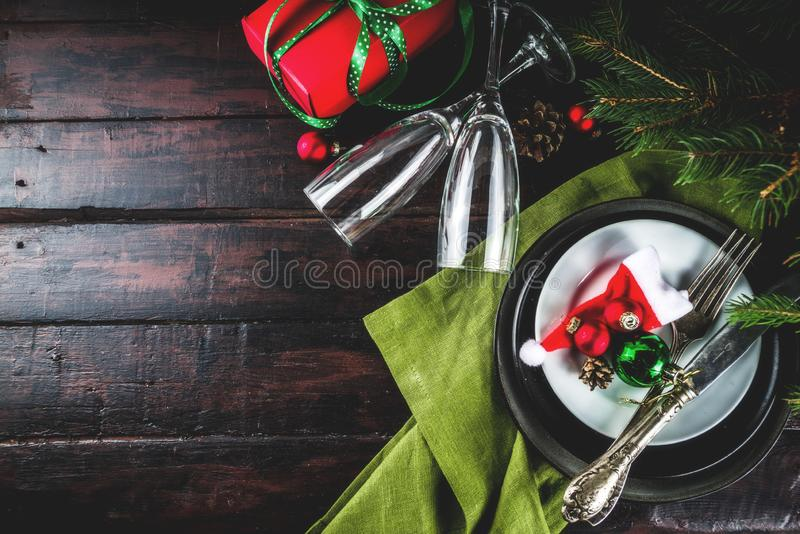 Christmas or New Year table setting stock photo