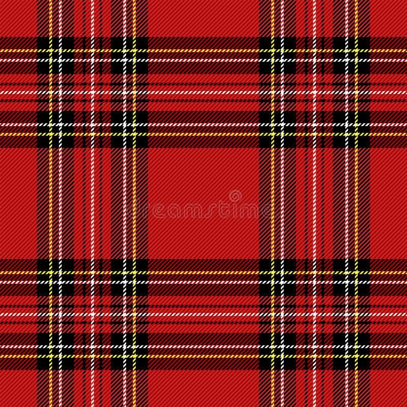Christmas new year Tartan. Pattern Scottish cage. Christmas and new year tartan plaid. Scottish pattern in black, red and yellow cage. Scottish cage. Traditional royalty free illustration