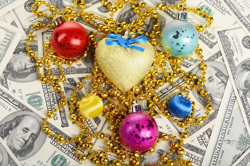 Christmas and new year toys with dollars gift. Christmas and new year toys with dollars present stock images