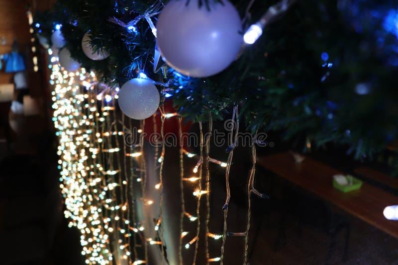 Christmas New Year tree christmas lights toys mirror stock photo