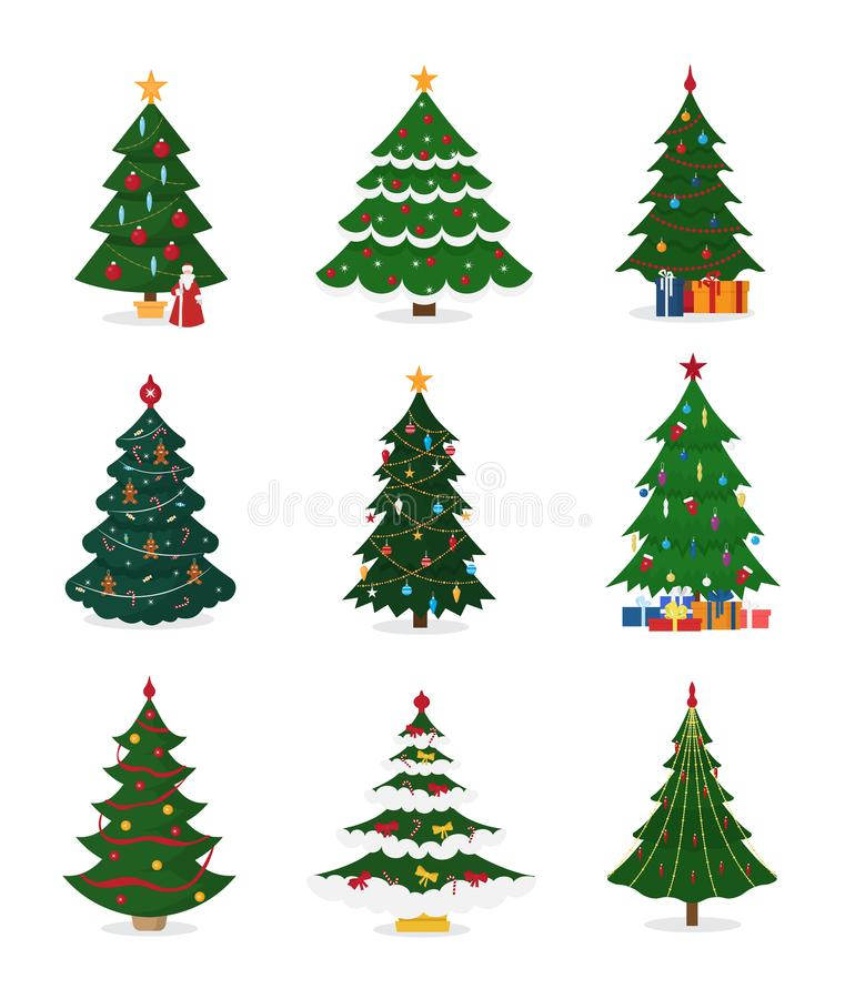 Christmas New Year tree vector icons with ornament star xmas gift design holiday celebration winter season party plant. vector illustration