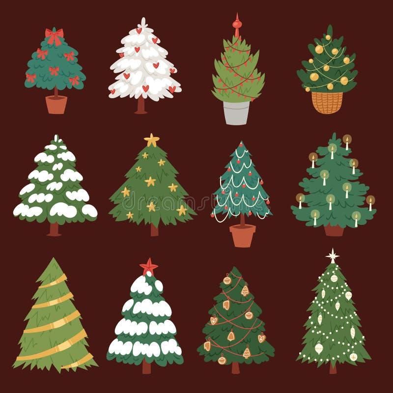 Christmas New Year tree vector icons ornament star xmas gift design holiday celebration winter season party tree plant. royalty free illustration