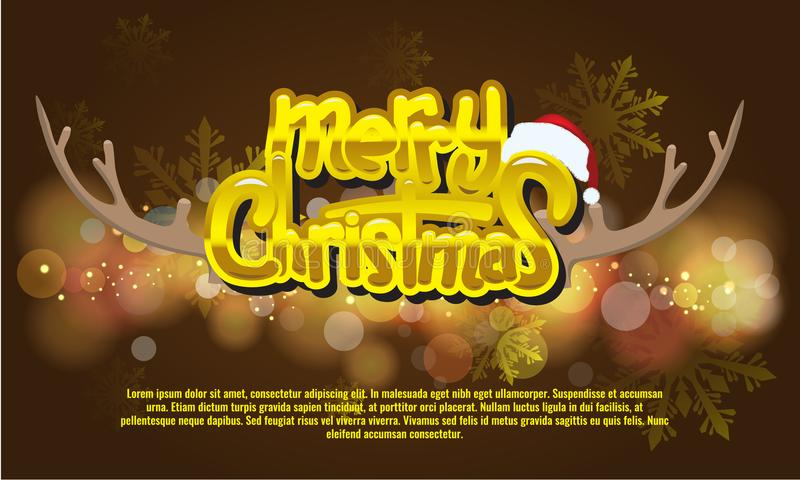 Christmas And New Year Typographical on background with bokeh. stock illustration