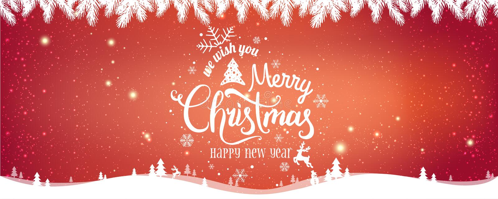 Christmas and New Year Typographical on red Xmas background with winter landscape royalty free illustration