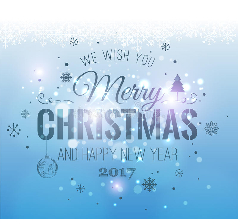 Christmas And New Year Typographical on shiny Xmas background with snowflakes, light, stars. Vector Illustration royalty free illustration