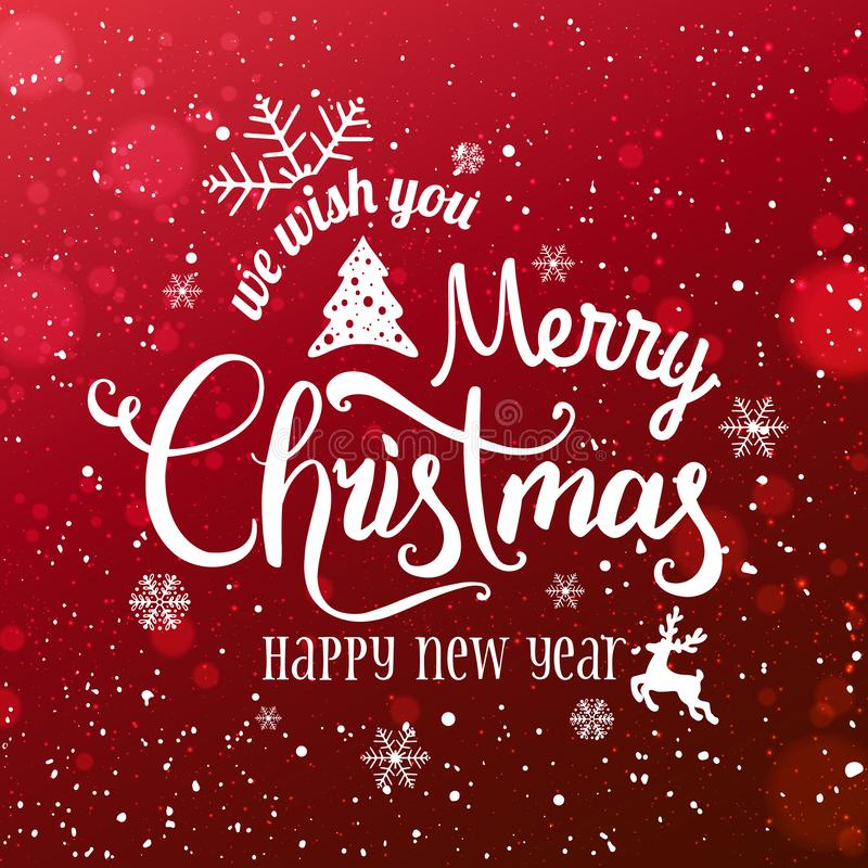 Christmas and New Year Typographical on snowy Xmas background with snowflakes, light, stars. vector illustration