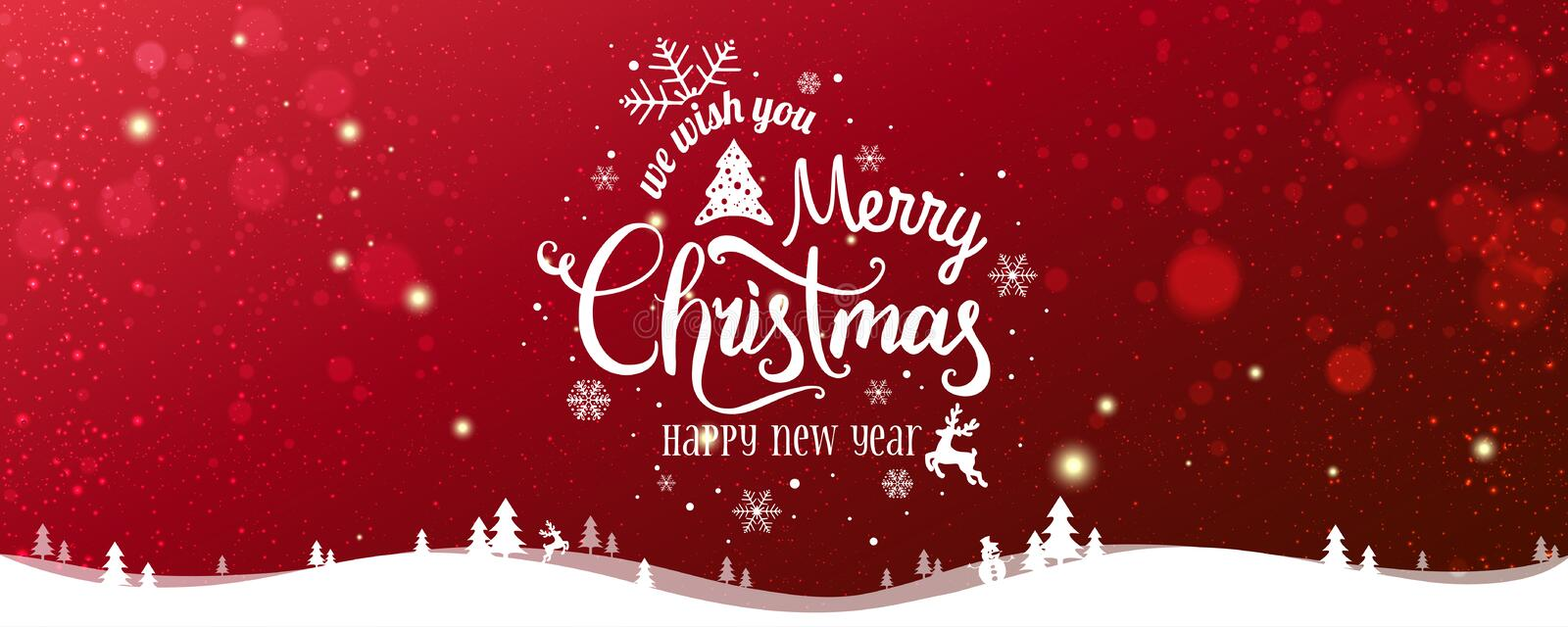 Christmas and New Year Typographical on snowy Xmas background with winter landscape with snowflakes, light, stars. Merry Christmas card. Vector Illustration stock illustration