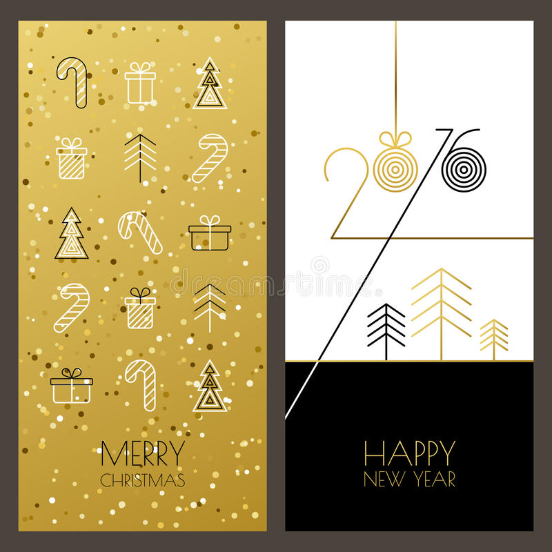 Christmas and New Year vector greeting cards set with outline gi royalty free illustration