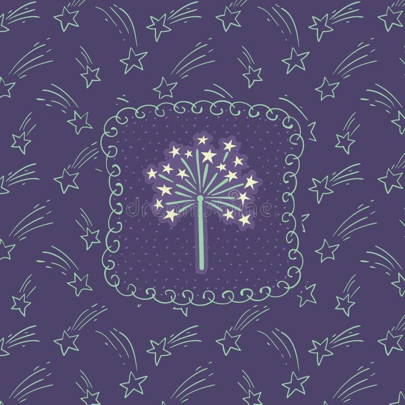 Christmas and New Year vintage ornate frame with firework sparkle symbol. Doodle illustration greeting card vector illustration