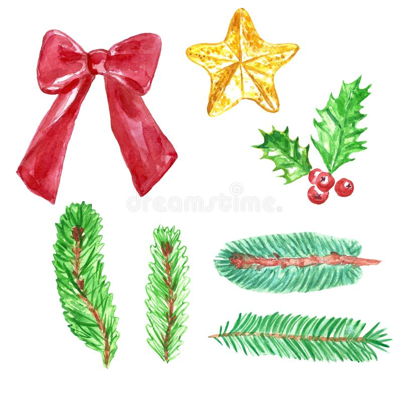 Christmas and New Year watercolor set with spruce fir tree branches, ribbon, christmas tree star, holly royalty free illustration