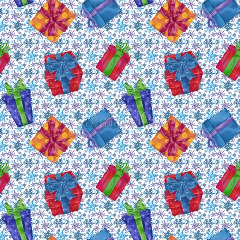 Gift Boxes Seamless Pattern with Snowflakes on Background. Christmas, New Year, and Winter Holidays Design for Gift Wrap, Background, and Textile vector illustration