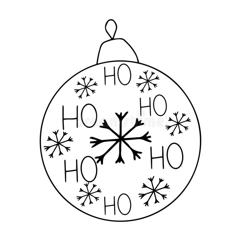 Christmas and new year winter icons. Christmas ball, decoration, toy. Hand drawn monochrome set, black and white. Happy, holiday, stock illustration