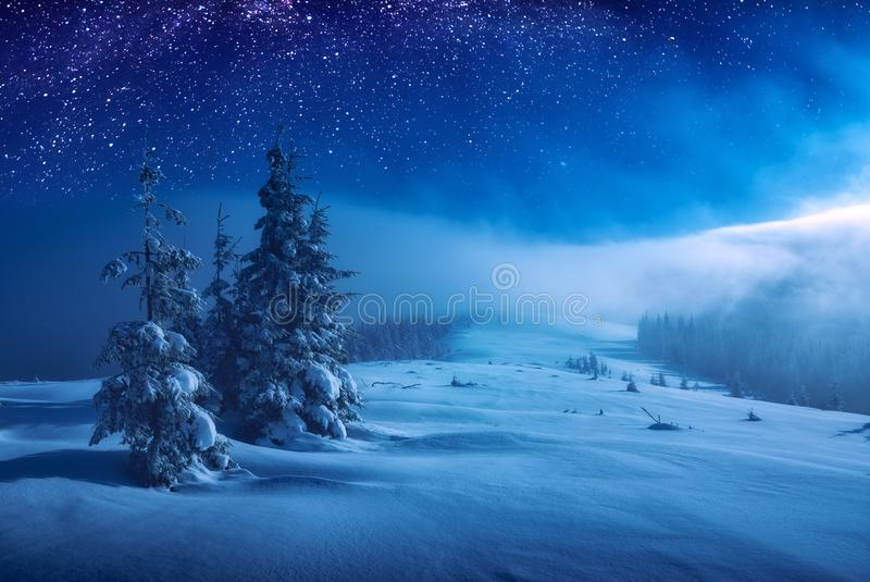 Christmas and New Year winter night stock images