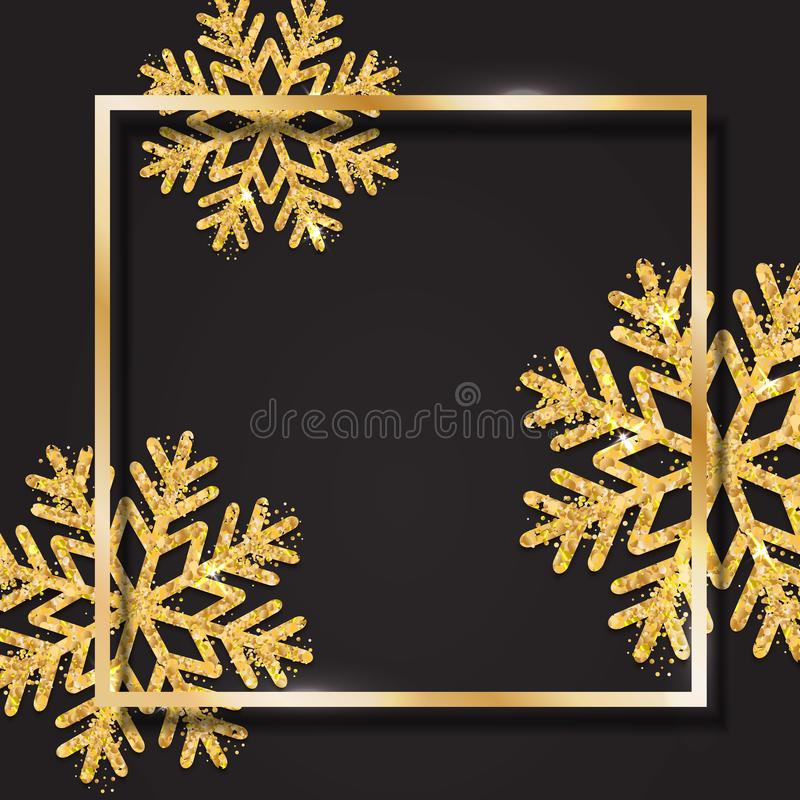 Christmas, New Year and winter poster with gold square frame and royalty free illustration